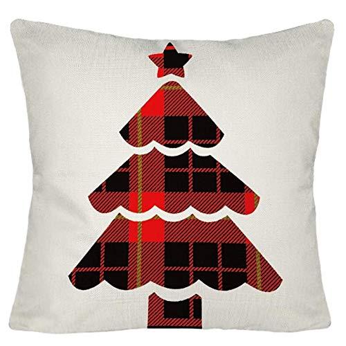 Janly Clearance Sale Funda de almohada, diseño de Navidad, fundas de almohada de lino, funda de cojín para sofá, decoración del hogar, para Navidad, hogar y jardín, multicolor