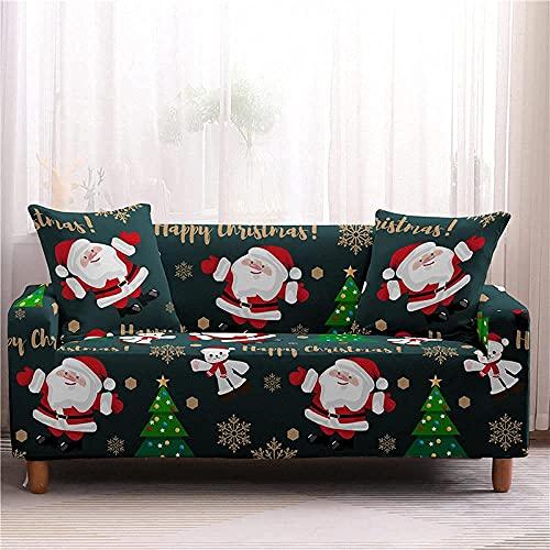 Funda de sofá elástica con Todo Incluido 1/2/3/4 plazas Navidad Papá Noel Estampado de Dibujos Animados Funda Deslizante Sofá Lavable, Antiarrugas extraíble, 4, Asiento 235,300cm
