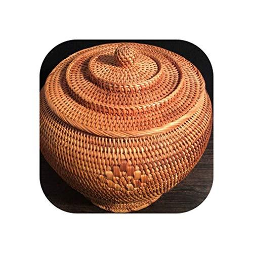 Rattan-Behälter in Tempelform, für Teekuchen, Aufbewahrungsdose, Aufbewahrungsdose, Rattan-Korb L 26 X 26 Cm