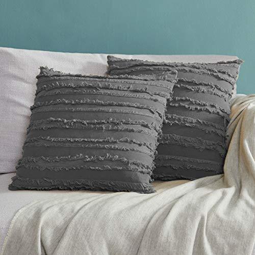 OMMATO Kissenhülle Kissenbezug 50x50cm Grau Kissenbezüge Sofakissen Baumwolle Dekokissen für Schlafzimmer Wohnzimmer 2er Set