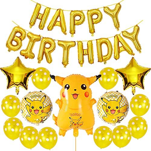 Ksopsdey Pokemon Fiesta Decoración para Niño Niña Cumpleaños Fiesta 3D Pikachu Helium Foil Globos Happy Birthday Fiesta Globos látex Globos para Fiestas de Niños Favores Regalo Carnaval