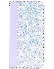 Boloker Funda para Xiaomi Redmi 7 / Redmi Y3 [con Protector Pantalla],Brilla Glitter Carcasa Piel PU Billetera Soporte Plegable con Ranuras Tarjetas Cierre [Magnético] (Blanco)