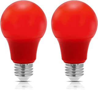 JandCase LED Red Light Bulb, 40W Equivalent, 5W, A19 Color Light Bulbs with E26 Medium Base, Porch, Home Lighting, Halloween Decoration, Not Dimmable, 2 Pack