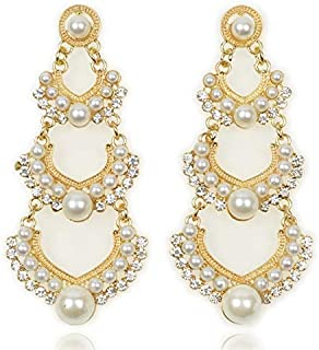 Yellow Chimes Stylish Elegant Traditional Hangings Gold Plated and Pearl Dangler Earrings for Women (White; Gold) (YCFJER-166TJPRL-WH)