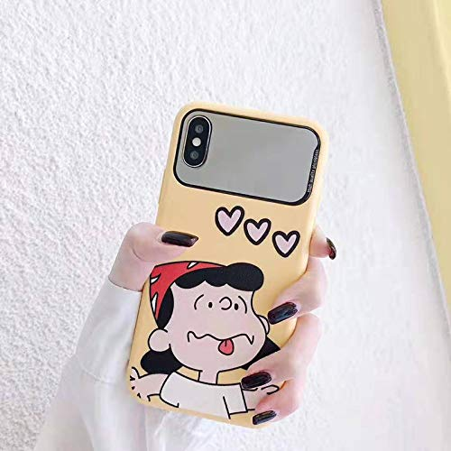 VCX leuke Charlie Brown Lucy Telefoonhoes voor iP X XR XS Max 6 6s 7 8 en case make-up spiegel zachte siliconen backcover (Color : 1, Materiaal: for iPhone 7)