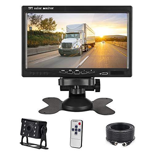 Podofo Telecamera di retromarcia per Auto, 7 Pollici TFT LCD Specchio Monitor Impermeabile Visione Notturna Fotocamera con 12 LED IR, Sistema di Assistenza al Parcheggio, per Camper, Camion, Bus