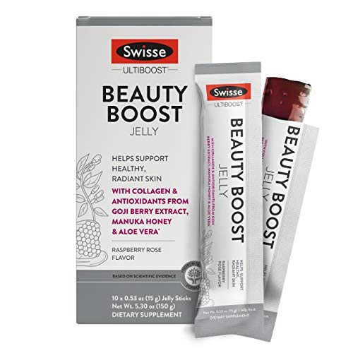 Swisse Ultiboost Beauty Boost Jelly Sticks, Raspberry Rose | Healthy Skin Care Supplement | Marine Collagen, Antioxidants from Goji Berry, Manuka Honey, Aloe Vera | Portable Jelly Sticks | 10 Count