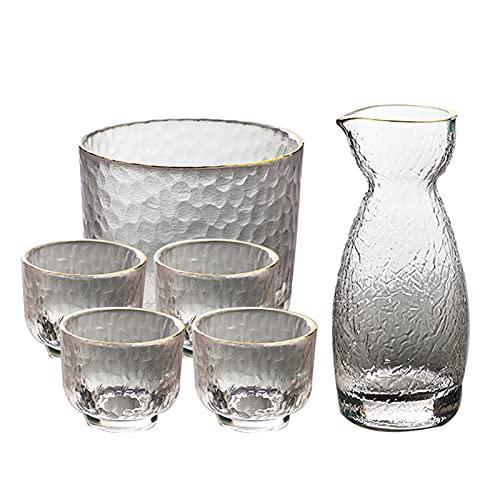 ROSG Conjunto de Frasco de Cadera pequeño de Vidrio de Estilo japonés, Conjunto de macetas de Seis Piezas, se Pueden Seleccionar Cuatro Estilos, Enviar Corcho,Style One
