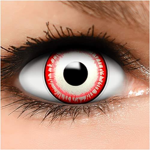 Farbige Kontaktlinsen Killer Clown in rot weiß + Behälter - Top Linsenfinder Markenqualität, 1Paar (2 Stück)