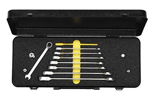 Elora 0204500081002 Satz-Maulschlüssel mit Ringratschen im Blechkasten, 8-teilig + Adaptoren, 204S 8M OMS