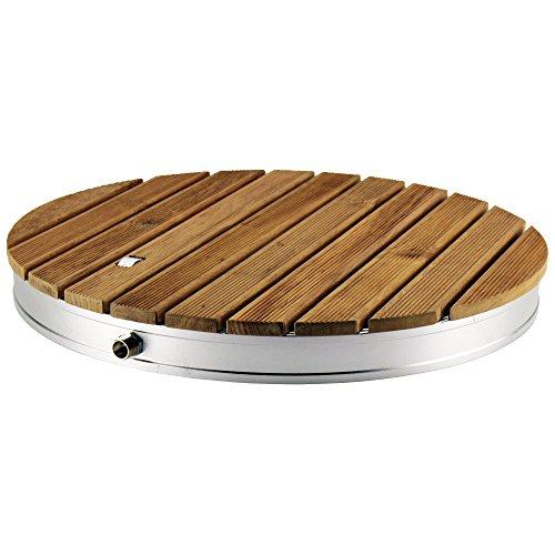 @tec Gartendusche Aussendusche aus massivem Teak-Holz, Mobile Bodendusche Campingdusche, Sauna- & Pool-Dusche rund mit Bodenplatte für den Garten, Outdoor Shower - 5