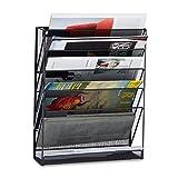 Relaxdays Porte-revues mural porte-journaux porte-magazines 6 casiers HxlxP: 40 x 32...