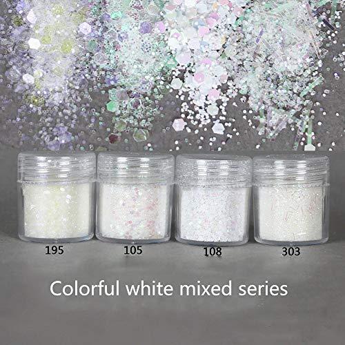 Transparent Blanc Nail Glitter Sirène Poudre Flocons Brillant Hexagone Holographique Paillette Paillettes Nail Art Décoration Manucure, 303 10 ml