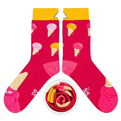 CUP OF SOX Herren Damen Lustige Socken mit Eis - Gemusterte Bunte Geschenk Socken aus hochwertige Baumwolle (Rosa, 41-44)