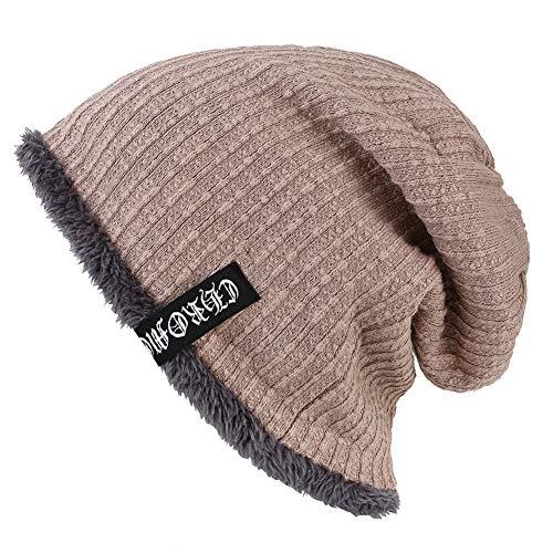 ZYLL Unisex Beanie Cap, Herbst Winter Plus Samt Stricken Winddicht warme Haarausfall Hut, Sonnenschirm Hut, Chemo Hut,Khaki,OneSize