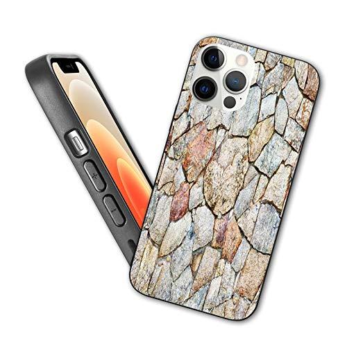 Compatible con iPhone 12 Series 2020 Ilustración realista de estilo antiguo rústico natural piedra de escombros diseño de pared para iPhone 12 6.1 pulgadas