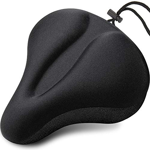 WSX Bike Seat Cushion, Comfortable Large Wide Bike Seat Cover, Foam & Gel Padded Exercise Bike Seat Cushion for Women and Man, Fits Ordinary Bicycle and Indoor Cycling