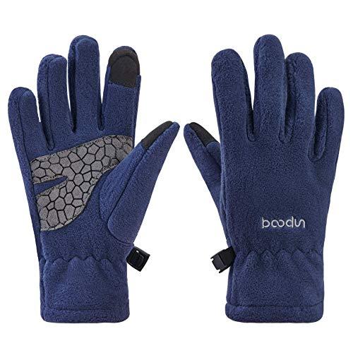 Arcweg Handschuhe Kinder Fleece Warm Laufhandschuhe Winter Gloves rutschfest Fahrradhandschuhe Touchscreen Winterhandschuhe Jungen Mädchen Fingerhandschuhe Sport Camping Wandern Laufen Blau S/M
