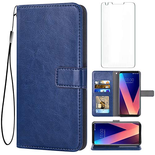 Asuwish Compatible with LG V35 ThinQ V30 Plus Wallet Case Tempered Glass Screen Protector Leather Flip Card Holder Stand Accessories Phone Cases for LGV30 LGV35 LG30 LG35 V 30 35 V30+ V30s H931 Blue