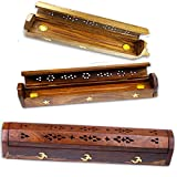 Wooden Incense Joss Stick Cone Holder smoke Box + 10 INCENSE CONES by Simply essential