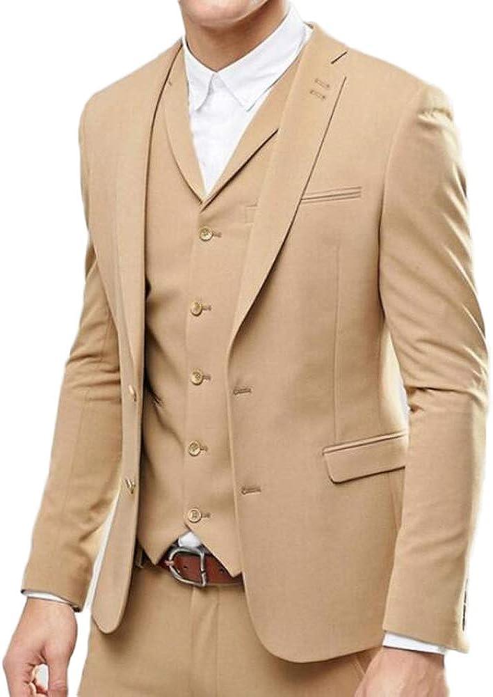 Men Slim Fit Notch Lapel Two Button Khaki 3 PC Suit Wedding Tuxedo Suit Business Suit