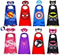 Superhero Capes with Masks Double Side Dress up Costumes Festival Christmas Halloween Cosplay Birthday Party for Kids (Double Side-Superheros 4Sest) by