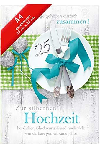 Hochzeitskarte Jumbo - Din A4 - Silberhochzeit - Teller mit Silber
