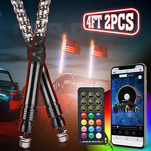 Kemimoto LED Whip Lights for UTV ATV with Bluetooth and USA Flag Pole,366+ Lighting Modes Spiral RGB Chasing Lighted Whips Antenna Compatible with Can-Am RZR Polaris Dune Buggy Offroad Truck,2pcs 4ft