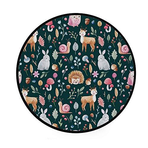Orediy 92 cm runder weicher Schaumstoff-Teppich Fee Wald Tiere Pflanzen leichter Kindergarten Spielteppich Boden Yogamatte für Wohnzimmer Schlafzimmer