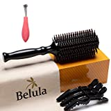 Boar Bristle Round Brush for Blow Drying Set. Round Hair Brush With Medium 2.4' Wooden Barrel....