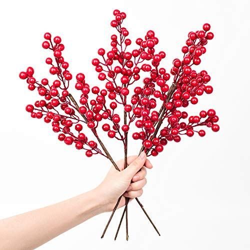 YQing Künstliche rote Beeren Stiele für Weihnachtsbaum-Dekorationen für Bastelarbeiten, Urlaub und Wohndekoration, Burgunderrot