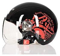安全と軽量のヘルメット 半ヘルメットの夏のオートバイの古典的なジェットヴィンテージ開いた顔ヘルメット男性&女性、バイクのクルーザーモープスクーターATV成人レトロな軽量ヘルメット 大人のためのヘルメット (Color : G, Size : Medium)