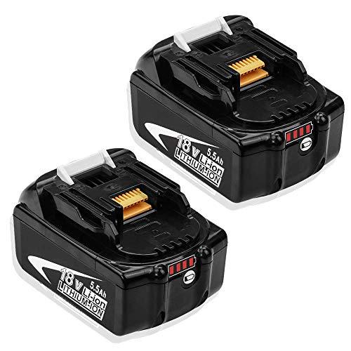 2X Hochstern BL1860B 5.5Ah Lithium Ersatz für Makita Akku 18V BL1860 BL1850 BL1850B BL1845 BL1840 BL1830B BL1830 BL1815 194204-5 LXT-400 Akku-Elektrowerkzeuge mit LED-Ladeanzeige