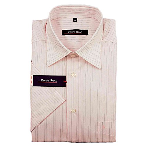 Chemise Homme Manches Courtes Rose Rayures de King S Road - - S