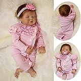 ZIYIUI 22 Pulgadas 55 cm Muñeca Reborn Silicona Suave Bebé Recién Nacido Juguete Hecho a Mano Regalo Muñeca Reborn Niña con Ojos Cerrados