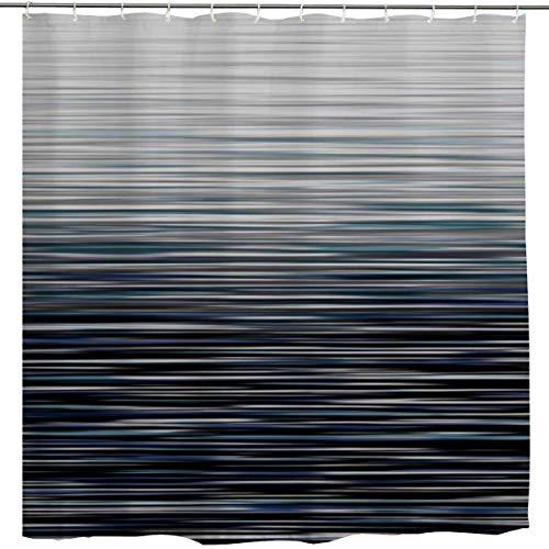 JOOCAR Design-Duschvorhang, modernes Dekor, Ombre-Streifen, personalisierbar, abstrakt, gestreift, kreativer Kunstdruck, blau-grau, wasserdichter Stoff, Badezimmerdekor-Set mit Haken