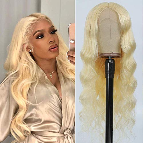 613 Blonde Lace Front Wig Human Hair Pre Plucked 22' T Part Body Wave Lace Front Wigs for Black Women 150% Density Light Blonde Human Hair Wigs with Baby Hair
