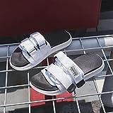 ypyrhh Sandalias Cómodo Casual Zapatos de Playa,Zapatillas Planas de Moda, Parejas de Playa-Blanco_45,Zapatillas Flip Flops Sandal