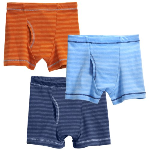 City Threads Boys' Striped Boxer Briefs 3-Pack Cotton/Poly Blend; For Sensitive Skin and Sensory Friendly SPD Made in the USA, Orange/Br Lt. Blue/Midn, 2T