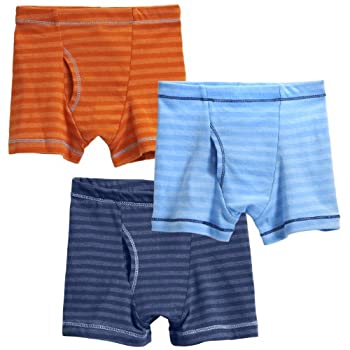 City Threads Boys  Striped Boxer Briefs 3-Pack Cotton/Poly Blend  for Sensitive Skin and Sensory Friendly SPD Made in The USA Orange/Br Lt Blue/MIDN 7