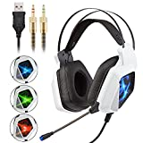 Stereo Gaming Headset Auriculares con micrófono de 3.5 mm con cancelación de ruido para juegos de micrófono para computadora portátil, teléfono celular, luces LED de respiración tricolor (blanco)