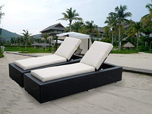 Big Sale ohana collection Genuine Ohana Outdoor Patio Wicker Furniture 2-Piece Chaise Lounge Set, Beige