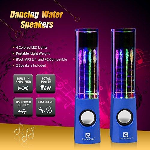SoundSOUL Dancing Water Speakers LED Speakers Water Fountain Speakers (Blue)