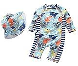 Jungen Badeanzug Einteiler Kleinkinder Reißverschluss Badeanzug Badebekleidung mit Hut Rash Guard Surfing Suit UPF 50+ (Fisch, Marine 6-9 Monate, Höhe: 60-70cm)