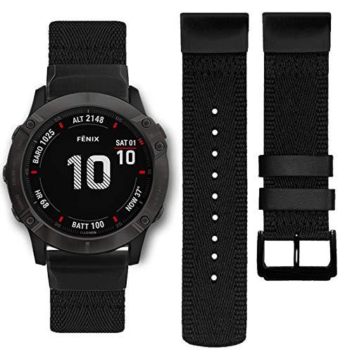 Abanen Nylon Watch Band for Garmin Fenix 6X/Fenix 5X, 26mm QuickFit Woven Soft Nylon Quick Dry Wristband Strap for Garmin Fenix 6X Pro/Sapphire/Solar,Fenix 5X/5X Plus,Tactix Delta,Fenix 3 (Black)