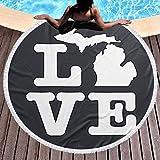 DGTY I Love Michigan Map Manta de Toalla de Borla Redonda Gruesa Estera de Yoga de Microfibra Manta de Playa Multiusos súper Suave y Absorbente