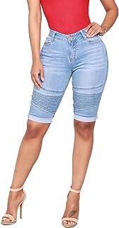 Guiran Jean Shorts Women Denim Stretch Bike High Waisted Push Up Skinny Knee Length Shorts Bermuda