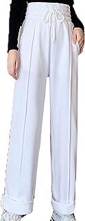 بنطلون حريمي كاجوال كاجوال مريح بخصر مرتفع ومستقيم بناطيل رياضية مقاومة للاهتراء (اللون: أبيض، المقاس: XL)
