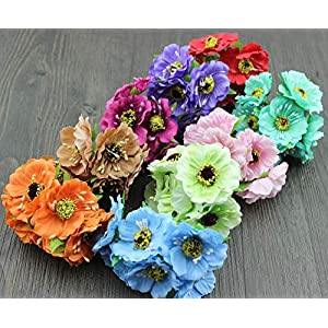 Artificial and Dried Flower 9 Bunches Poppies Flower Artificial Silk Poppy Bouquet Wedding Bouquets Scrapbooking DIY HG0007