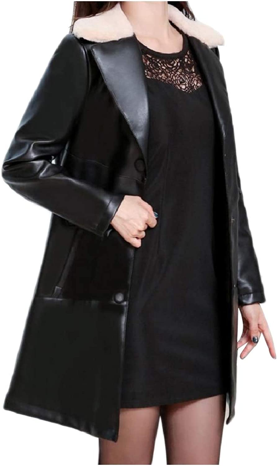 TaoNice Women Winter Skinny Button Notch Collar Washed Faux Leather Jackets